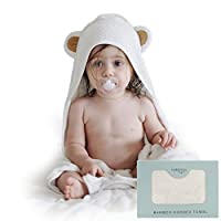 Natemia Extra Soft Baby Bamboo Hooded Towel | Antibacterial and Hypoallergeni...