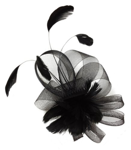 Mesh and Feather Fascinator Headwear on a Clip and Brooch
