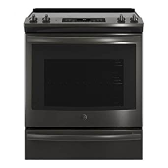 GE JS760BLTS 30 Inch Slide In Electric Range With Smoothtop Cooktop In  Black Stainless Steel