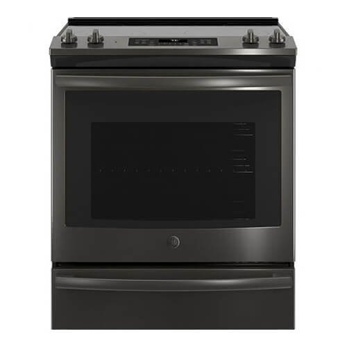 GE JS760BLTS 30 Inch Slide-in Electric Range with Smoothtop Cooktop in Black Stainless Steel