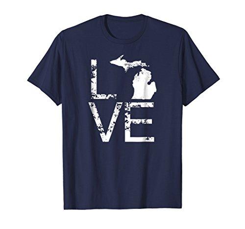 Michigan Love Shirt MI State Home Pride Map Distressed -