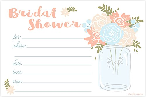 Mason Jar Bridal Shower Invitations - Fill In Style (20 Count) With Envelopes