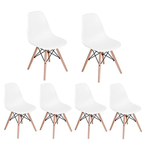 - Homycasa Eiffel DSW Style Mid Century Side Dining Chairs Molded Plastic Cover Natural Wood Legs(Set of 6, White)