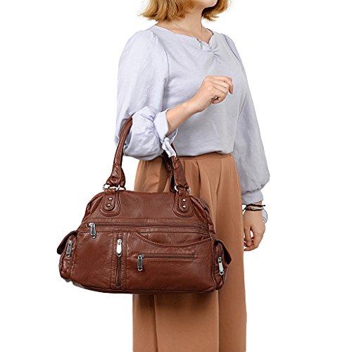 UTO Mujer Bolso PU cuero lavado Multi Cremallera Bolso Parte superior Handle bandolera marrón