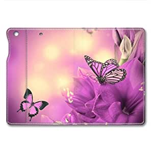 iPad Mini Case, Purple Flower and Butterfly Folio Leather Cover with Sleep / Wake Feature for iPad Mini