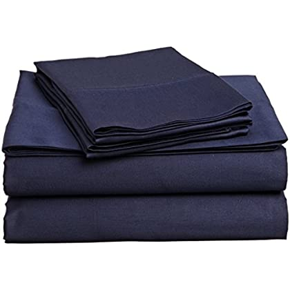Image of American Linen Egyptian Cotton Bedding HIGH Class Navy Blue Solid 1000 Thread Count 6 PCs California King Bed Sheet Set 100% - Egyptian Cotton, Sateen Solid, 14 Inches Deep Pocket Home and Kitchen