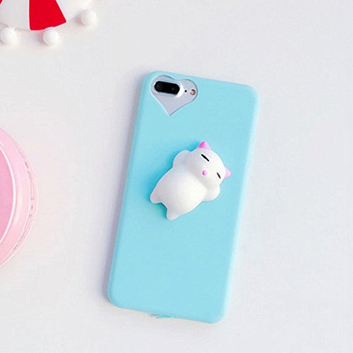 3d Squishy Cute Cat Phone Case For iPhone 5 5s Se iPhone 6 6s Plus iPhone 7 7plus - Best Gift For Boys and Girls (Blue - iPhone 5 5s Se)