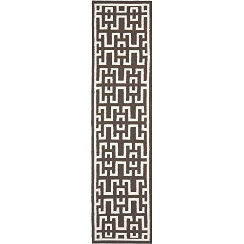 Safavieh Dhurries Collection DHU621C Hand Woven Chocolate and Ivory Premium Wool Runner (2'6