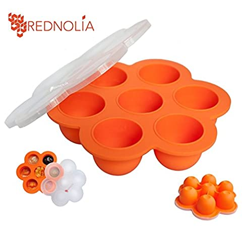 REDNOLIA Baby Food Freezer Tray with Clip-on-Lid & Spoon | Best Multiportion Silicone Food Storage Container for Homemade Baby Food Purees and BreastMilk | 7 x 2.5 OZ | BPA-FREE | - Simply Delicious Muffins
