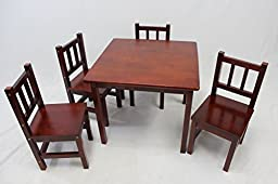 eHemco Kids Table and 4 Chairs Set Solid Hard Wood (Cherry)