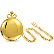 Bling Jewelry Roman Numeral Mens Pocket Watch High Polish Gold Plated Quartz
