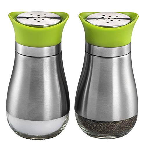 MITBAK Salt and Pepper Shakers (2-Pc. Set) Modern Stainless-Steel w/Clear Glass Bottom | Compact Cooking, Kitchen and Dining Room Use | Classic, Refillable Design (Green) ()