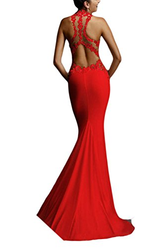 Las Mujeres Vestido Backless Slim De Rojo Elegantes Noche Maxi De Halter Sirena wpUnAqxwr