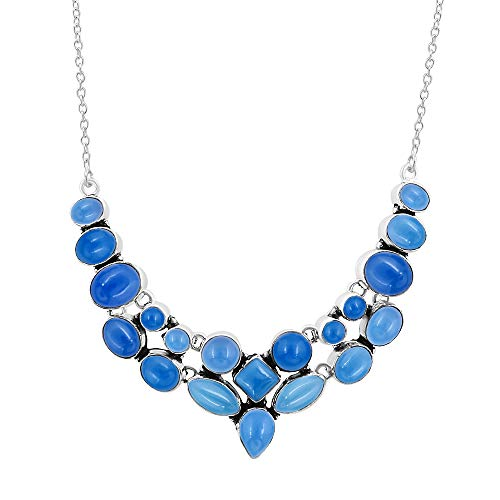 Genuine Multi Shape Chalcedony Necklace 925 Silver Plated Handmade Oxidized Finish Vintage Style Fashion Jewelry for Women Girls