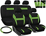 OxGord Car Seat Cover - Green Black fits Car, Truck, Van, SUV - Full Set