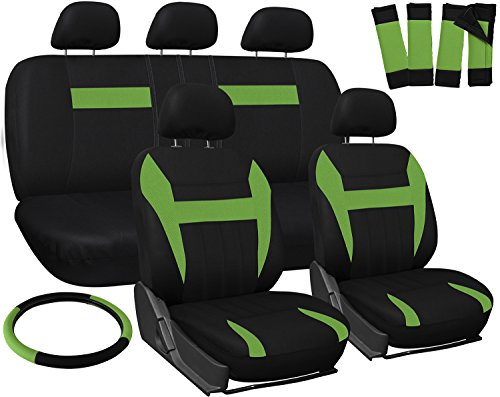 OxGord Car Seat Cover - Green Black fits Car, Truck, Van, SUV - Full Set (Black Leather Green Stripe)