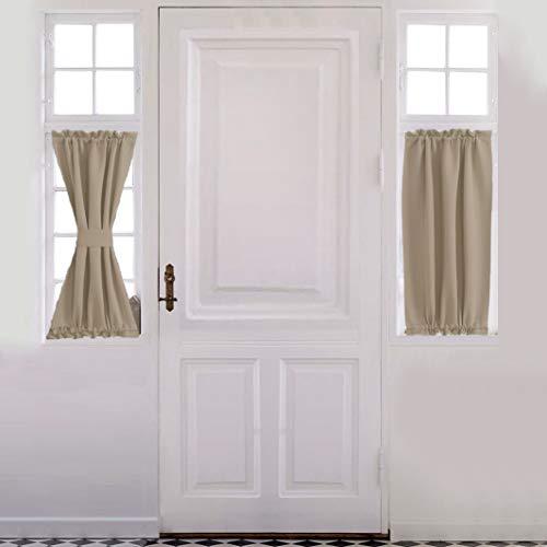 Aquazolax Blackout Door/Window Curtain for Privacy - Blackout Curtains 25x40 French Door Panels Plain Premium - 1 Piece, Light Saga Beige