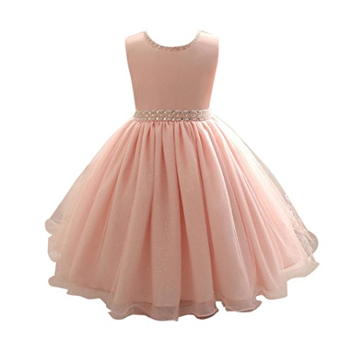 Goodlock Children Kids Fashion Dress Girl Sleeveless Beaded Dress Princess Formal Pageant Holiday Wedding Bridesmaid Dress (Size:3T) Pink ()