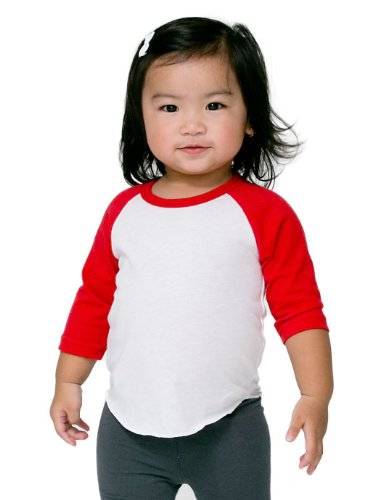 American Apparel Kids Infant Poly-Cotton 3/4 Sleeve Raglan Size 18-24 months (Apparel Toddler Red)