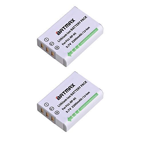 Batmax 2pcs NP-95 NP95 Batteries(2200mAh) for Fujifilm X30 X 100 X100S X100T X-S1 FinePix F30 FinePix F31 fd F31f Real 3D W1