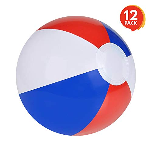 ArtCreativity 8 Inch Colorful Inflatable Beach Balls - Pack of 12 - Patriotic Red, White and Blue - Floating Bouncing Balls for Pools - Fun Party Favor and Gift