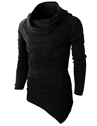 H2H Mens Casual Turtleneck Slim Fit Pullover Sweater Oblique Line Bottom Edge BLACK US S/Asia M (KMTTL046)
