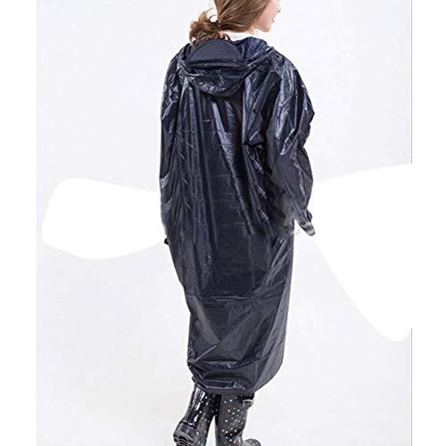 Camminata Impermeabile Blue Pioggia Per Navy Donne Tinta Casuale Lungo Da Moda Di All'aperto Tratto Adulti Unita Con Cappuccio 0Tqw0rZ