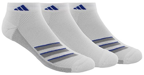 adidas Mens Climacool Superlite Low Cut Socks (3-Pack), White/Light Onix/Blue, Size 6-12