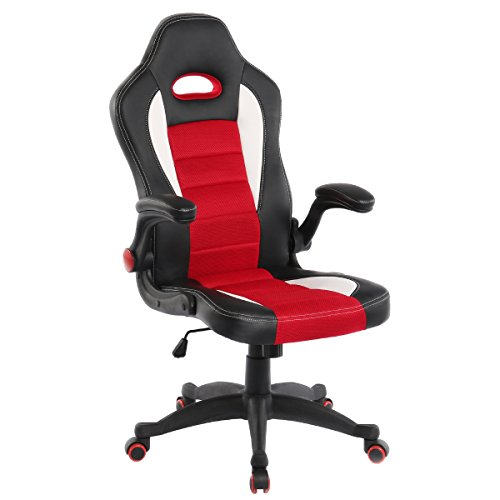 YAMASORO Racing Style Gaming Chair High-Back Executive Office Chair Breathable, Adjustable Computer Chair with Flip-Up Arms Black&Red by YAMASORO