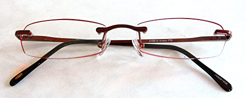 Magnivision +1.75 Red Edgeglow Rimmless Reading Glasses with Spring Hinges (334) + FREE Cleaning Cloth