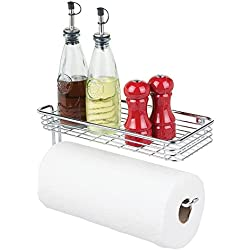 mDesign Paper Towel Holder Shelf - Wall Mount Storage Organizer for Kitchen, Pantry, Laundry, Garage