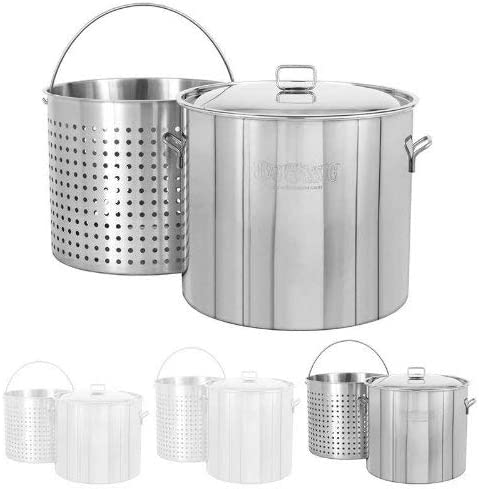 Bayou Classic 1122 122-Qt. Stainless Steel Stockpot with Boil Basket