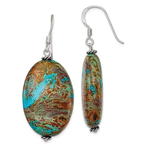 925 Sterling Silver Blue Jasper Drop Dangle Chandelier Earrings Fine Jewelry For Women Gift Set