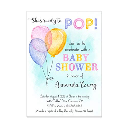 Watercolor Balloon Ready to Pop Baby Shower Invitations, Base price is for a set of 10 5x7 inch card stock invitations with white envelopes ()