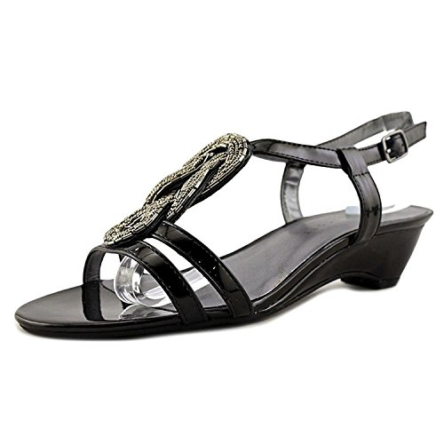 Wedge Heel Slingback Sandals - Karen Scott Womens Clemm Open Toe Casual Slingback Sandals, Black, Size 7.5