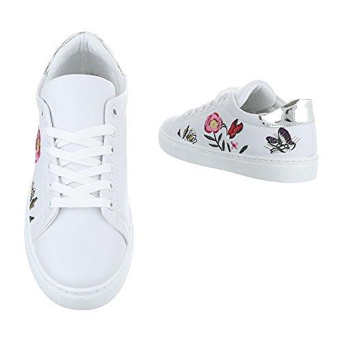 Ital-Design - Zapatillas de casa Mujer blanco y plateado
