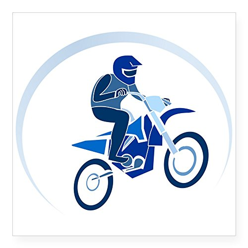 - Square Sticker White 5 x 5 Inch Motocross MX Flying Dirt Bike in Blue