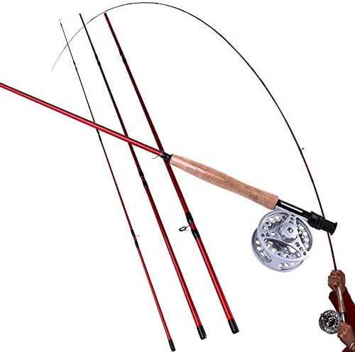 Sougayilang Fly Fishing Rod and Reel Combos Lightweight Ultra Portable Fly Fishing Pole with Aluminum Alloy 5/6 Fly Reel for Trout Salmon Carp Pikes Fly Fishing in Freshwater River Stream