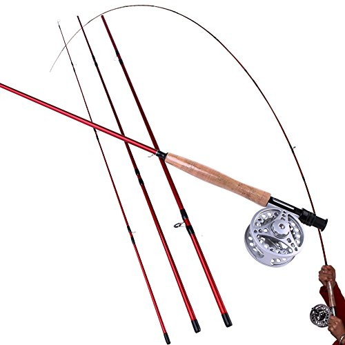 Sougayilang Fly Fishing Rod and Reel Combos Lightweight Ultra Portable Fly Fishing Pole with Aluminum Alloy 5/6 Fly Reel for Trout Salmon Carp Pikes Fly Fishing in Freshwater River Stream Salmon Trout Rod