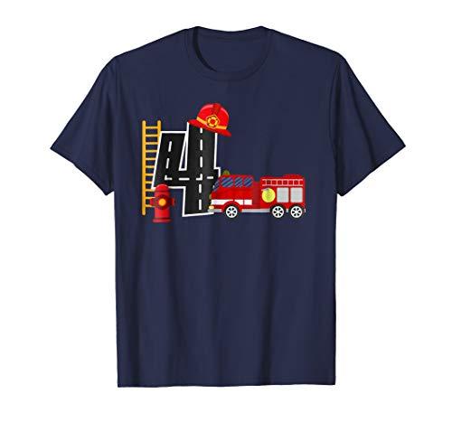 Boy's 4 Year Old Fire Truck Birthday Tee ()