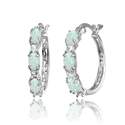 Sterling Silver Oval Simulated White Opal & Princess-cut White Topaz Filigree Hoop Earrings