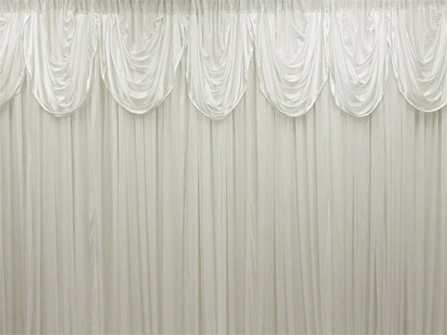 BalsaCircle 20 feet x 10 feet White Decorative Draping Backdrop Drapes Curtains - Wedding Ceremony Party Photo Booth Home Windows