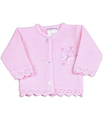 BabyPrem Preemie Baby Cardigan Jacket Girl Knitted Pink Butterflies 3-5lb Pink