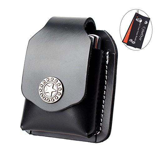 CyberDyer Leather Lighter Pouch Portable Lighter Holder case with Belt Loop (Black)