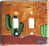 Desert Talavera Ceramic Double Toggle Switch Plate