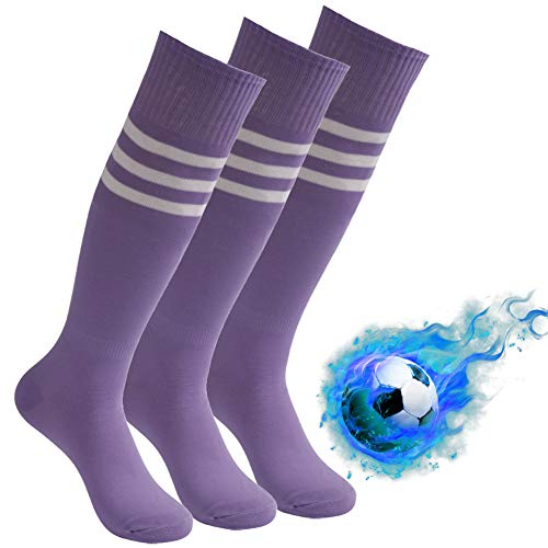 (Soccer Socks Over the Calf, Atrest Unisex Athletic Arch Compression Support Football Team Socks Striped Baseball Tube Socks for Workout Training Cheer Squad Uniform Purple+White Stripe 3 Pairs)