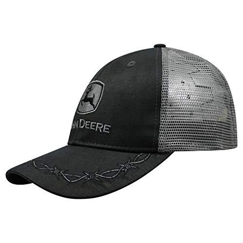 John Deere Mens Oilskin Charcoal Mesh Back Embroidered Hat