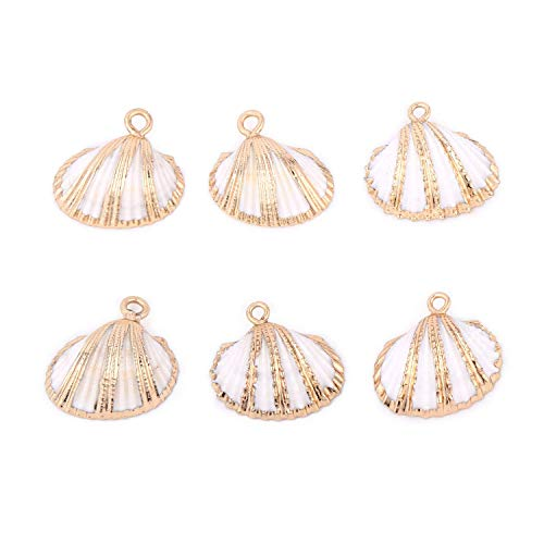 6PCS White Scallop Shells Pendant Small Ark Clam Sea Shell Charms with Gold Bands Bulk for Jewelry Making ()