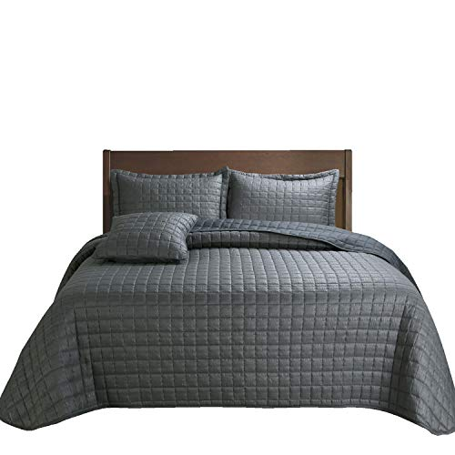 Hilin Fashion 3-Piece Bubble Reversible Solid Quilt Set with Shams, as Bedspread,Coverlet, Blanket, Summer Quilt or Bed Cover,Twin Size-Soft, Lightweight and Hypoallergenic,All Seasons(Grigio, 68X88)