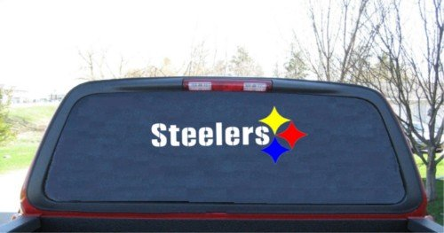 (Pittsburgh Steelers 3 Color Custom Made Window Decal Sticker 9 X 24)